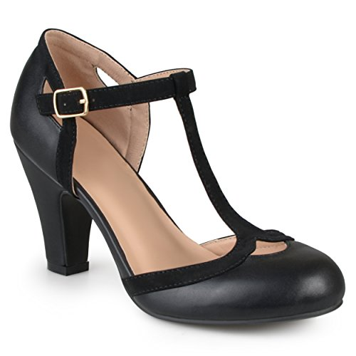 Price comparison product image Journee Collection Womens T-Strap Round Toe Mary Jane Pumps Black,  11 Regular US