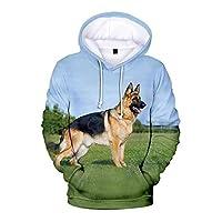 ユニセックスフード付きセーターリアルなドイツの羊飼いフーディー3Dプリントフーディー長袖巾着スウェットシャツフード付きスウェットフード (Color : G, Size : 3XL)