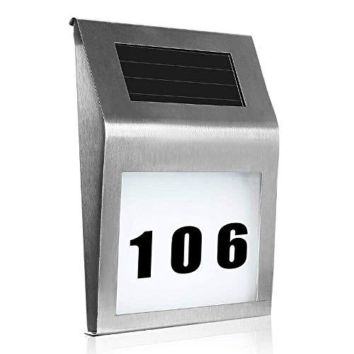 UISEBRT Solar LED Hausnummer Beleuchtet Edelstahl - Solarhausnummer mit 2 LED für außen - Solarleuchte mit Dämmerungsschalter und amorphem Silizium- Solar-Panel