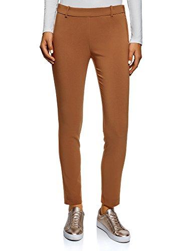 oodji Ultra Mujer Pantalones Ajustados con Cintura Elástica, Marrón, ES 40 / M
