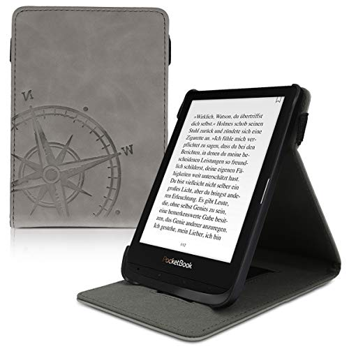 kwmobile Funda Compatible con Pocketbook Touch Lux 4/Basic Lux 2/Touch HD 3 - Carcasa con Tapa Vertical y Soporte para e-Book -Case Cuero sintético - Aguja magnética Gris
