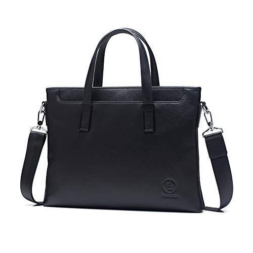 FT FunTor Slim Soft Briefcases for Men,Genuine Leather Mens Briefcase laptop Tote Bag with Detachable Strap for Files Portfolio