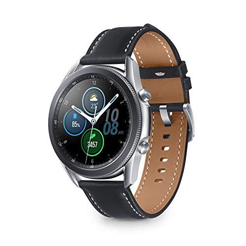 Samsung Galaxy Watch3 Smartwatch Bluetooth, Cassa 45mm Acciaio, Cinturino pelle, Rilevamento cadute, Monitoraggio sport, Batteria 340 mAh, IP68, Argento (Mystic Silver) [Versione Italiana]