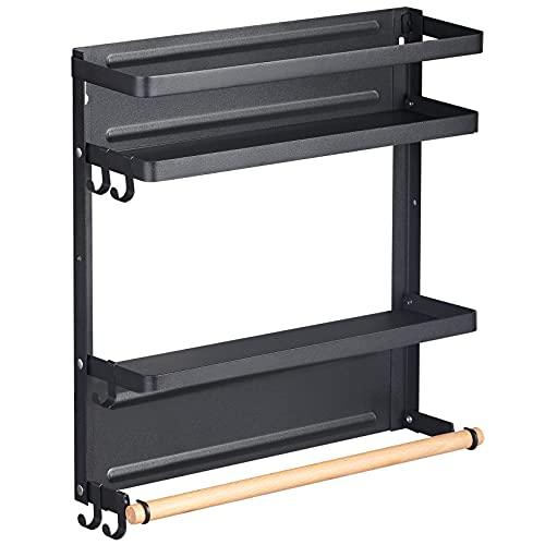 Magnetic Spice Rack for Refrigerator Magnetic Fridge Organizer Foldable Magnetic Shelf with Wood Paper Towel Holder & 5 Adjustable Kitchen Hooks (Black)