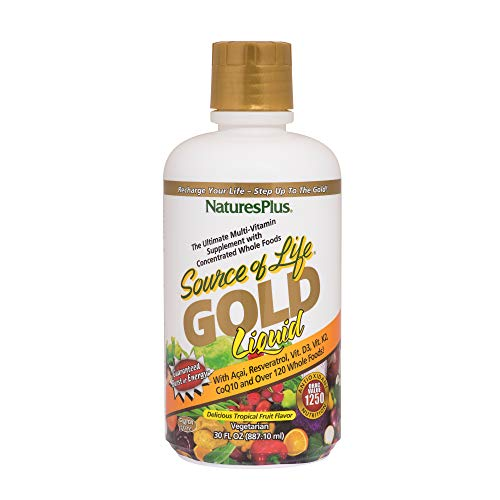 NaturesPlus Source of Life Gold Liquid - All Natural Whole Food Multivitamin, Complete Daily Vitamin Profile, Energy Booster, Immune Support - Vegan, Gluten Free (887ml)