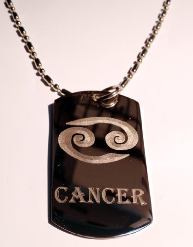 Celtic Zodiac Signs Sign Cancer Symbol - Military Dog Tag, Luggage Tag Key Chain Metal Chain Necklace
