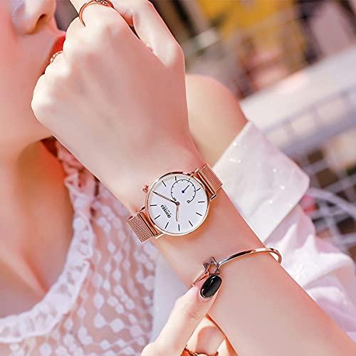 Rcherish Reloj de Cuarzo de Moda de Las señoras, Moderno Reloj Impermeable Simple Luminoso