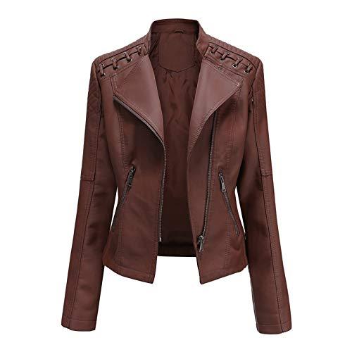 IHGWE Veste en Cuir Faux Simili Femme Manches Longues Blouson Fermeture Éclair Biker Manteau Slim Fit Moto Jacket Casual Automne
