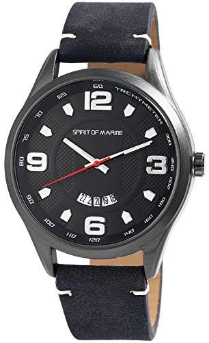 Spirit of Marine - Reloj de pulsera analógico para hombre con fecha, metal y piel sintética, mecanismo de cuarzo