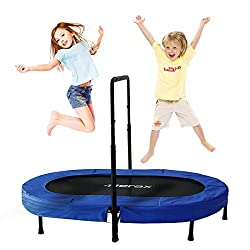 Merax Parent-Child Trampoline Twin Trampoline with Adjustable Handlebar
