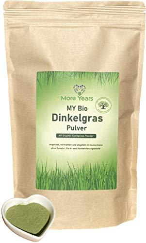 More Years MY Bio Dinkelgras Pulver + deutscher Anbau + nachhaltiges Produkt + Rückstandskontrolliert + Eisenlieferant + 500g + Baum gepflanzt