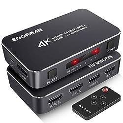 powerful 4K HDR HDMI switch, Koopman switch 4 port 4K 60Hz HDMI 2.0 switch, with wireless IR remote control,…