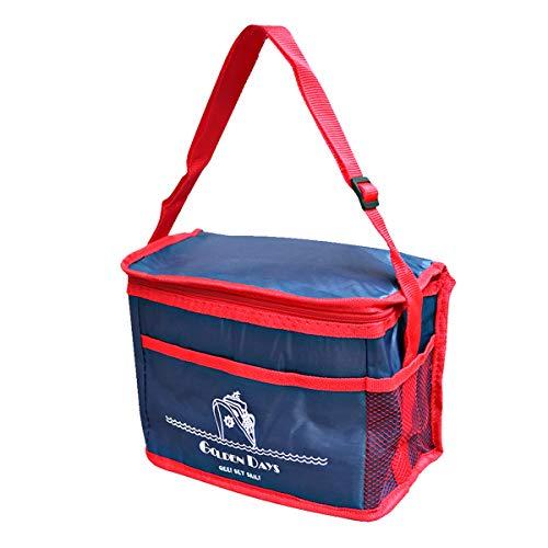 Bolsa térmica Porta alimentos, comida, almuerzo, bebidas. Color azul marino y rojo. Con asa para fácil transporte. MEDIDAS: 23 x 17 x 14 cm. Nevera isotérmica.