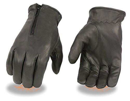 MEN'S MOTORCYCLE BUTTER SOFT LEATHER DRIVING GLOVES WITH ZIPPER LINED WARM(M)