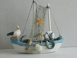 Blue and White Wooden Fishing Boat Ornament