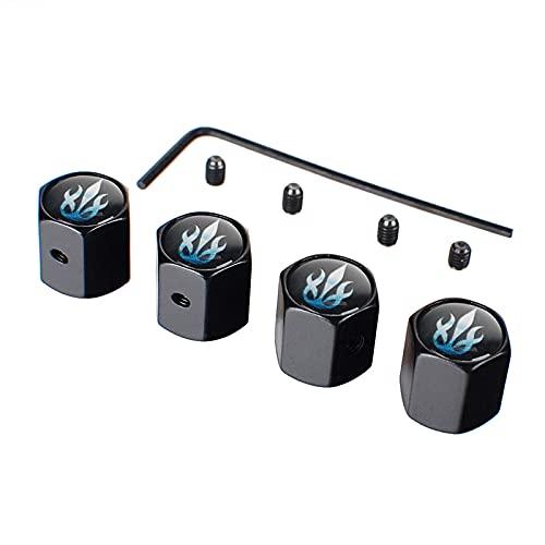 WOLHJ Tapas de válvulas de neumático compatibles con Volkswagen Vento BMW Range Rover Vogue Renault Clio Volvo V70 Mazda 3 Anti Robo Rueda Cubierta de neumáticos Estilo (Color : Black)