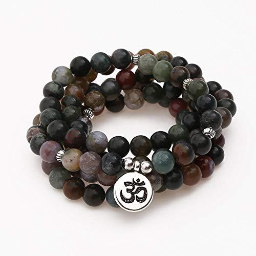 Ónix piedra abalorios pulsera 108 mala pulsera o collar mujeres hombre yoga curación oración mala múltiples capas envolver pulsera-Om bronce