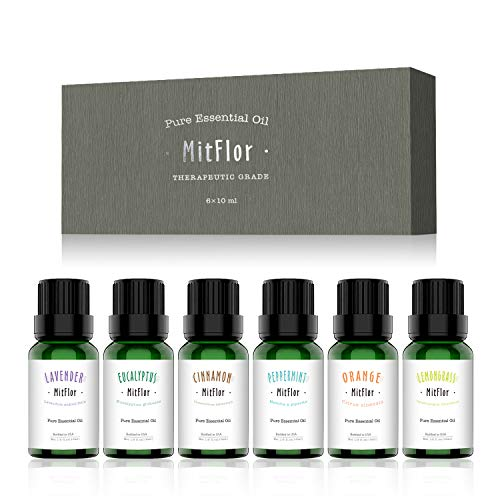 Essential Oils Set, MitFlor 100% Pure USA Organic Essential Therapeutic Grade Aromatherapy Oils Gift Kit, 6x10ml(Lavender Eucalyptus Peppermint Cinnamon Orange Lemongrass)