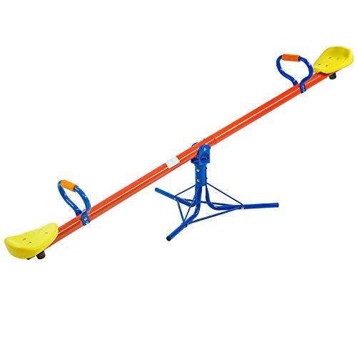 Deuba Spielwerk Altalena per Bambini Rotazione 360° Sali/scendi Gioco Esterno Maniglie Imbottite 200x67x70 cm Fino a 70kg
