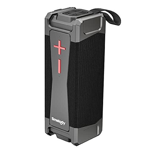 Smalody Altavoz Bluetooth portátil a Prueba de Agua de 20 W, Sonido estéreo Fuerte y con Graves adicionales, Tiempo de reproducción de 24 Horas, IPX6,Altavoces inalámbricos con micrófono, AUX,TF