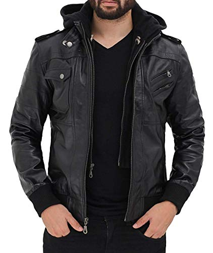 fjackets Bomber Leather Jacket Men with Hood - Genuine Lambskin Black Hooded Leather Jackets For Men | [1100164],Edinburgh Black,L