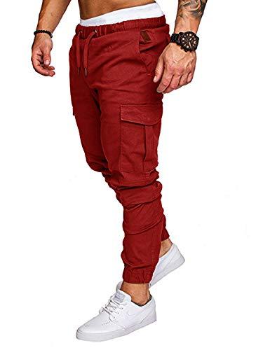 HUANG Pantalones casuales para hombre, ajuste delgado, con múltiples bolsillos, cintura elástica, culturismo, entrenamiento, correr, pantalones deportivos, rojo oscuro, 34-37