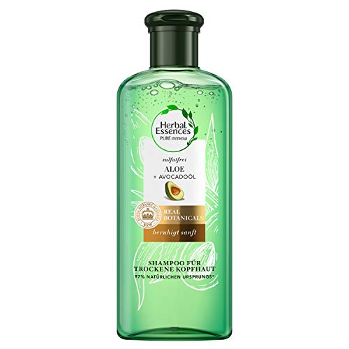 Herbal Essences Pure:Renew Sulfatfreies Shampoo Für Trockene Kopfhaut mit Aloe + Avocadoöl, 225ml, Ohne Silikon, Aloe Vera, Beauty, Haarpflege Trockenes Haar, Shampoo Damen, Tierversuchsfrei