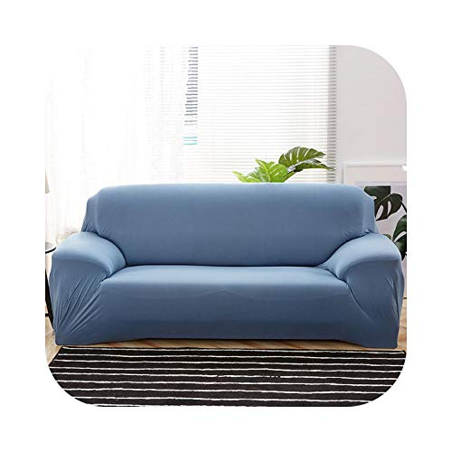 Onln 2021 Plain Solid Pattern Slipcovers Sofa Cover Stretch Sofa Covers for Living Room Couch Cover Sofa Towel Chair Sofa Cover funda Sofa-Lake blue-4-seater 235-300cm
