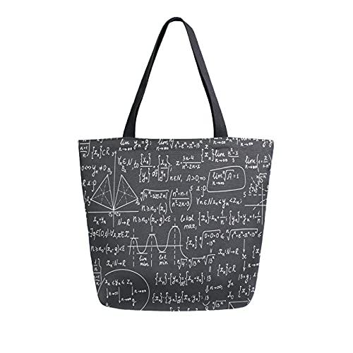 MeetuTrip - Bolsa de lona con patrón de matemáticas para mujer, grande, reutilizable, bolsa de compras, bolsa de hombro casual para la escuela, adolescentes, niñas, mujeres, viajes, profesora de playa