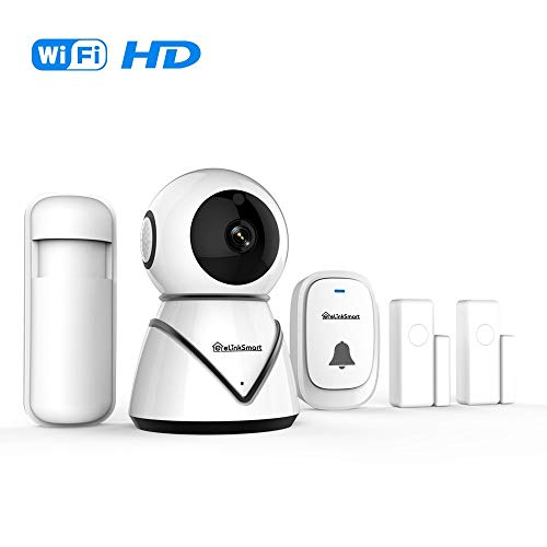 eLinkSmart Home Security-camera-kit Pan Tilt wifi-camera met 2 deur-/raamsensoren en PIR-detector draadloze deurbel nachtzicht tweeweg-audio