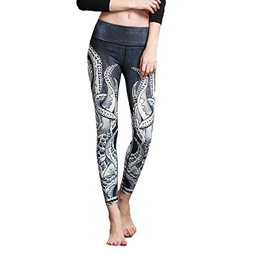 Dames Yoga Broek, Meisje Hoge Taille Tummy Control Quick-Drying Ademend Broek, Ms Workout Running Stretching Yoga Leggings Fitness Panty Octopus-M