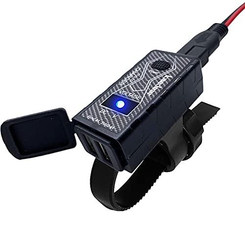 Kaedear(カエディア) バイク USB 充電器 バイク専用 電源 防水 デュアル 充電 2ポート SAE MOTOチャージャー DC 12V ヒューズ スイッチ プロテクション保護 GPS/タブレット/スマホ