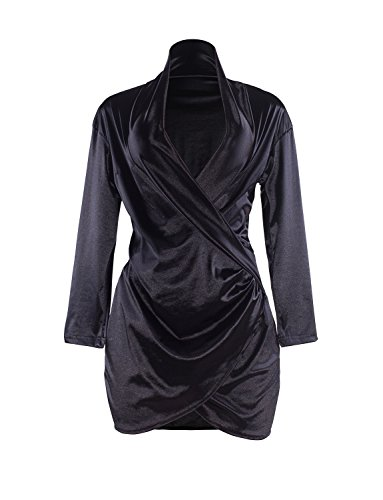 Sedrinuo Sexy Long Sleeve Deep V Neck Club Mini Dresses for Women Black 4/6