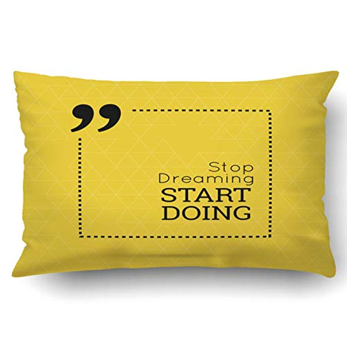 okstore1988 Funda de almohada decorativa para dormitorio, sofá, decoración del hogar, cita inspiradora para dejar de soñar, empezar a hacer sabio, decir en la plaza, 18 x 18 pulgadas, cita