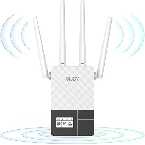 WLAN Verstärker Repeater AC1200 (867MBit/s 5GHz + 300MBit/s 2,4GHz, wlan - verstärker mit lan anschluss,LED-Smart-Display,Signalstärkeanzeige, extender,kompatibel zu allen WLAN Geräten, AP Modus)weiß