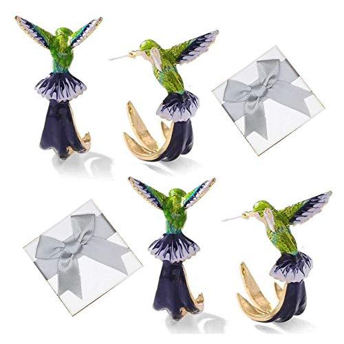 GPYONCT Cute Hummingbird Earrings, Flying Hummingbird Oil Painting Earrings, Fashion Hummingbird Stud Earrings, Animal Bird Ear Studs Earrings for Women Girl (2Pair)