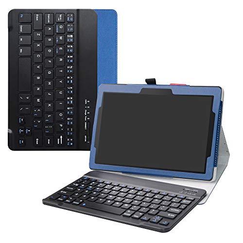 """Labanema Lenovo Tab E10 Teclado Funda, PU Estuche con Wireless Teclado Cover QWERTY para 10.1"""" Lenovo Tab E10 2018 Tablet - Azul"""