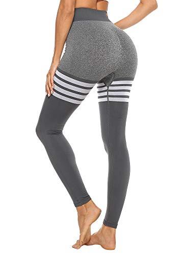 STARBILD Leggings para Mujer para Levantamiento de glúteos vitales Pantalones de compresión para Correr, Yoga, sin Costuras Adelgazamiento #A-Negro Large#A-Gris Small