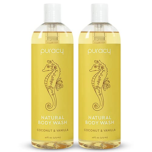 Puracy Body Wash, Coconut & Vanilla, Naturally Moisturizing for Sensitive Skin, Clean Rinsing Shower Gel, Gentle Foaming Cleansers, 16 Fl Oz (2-Pack)