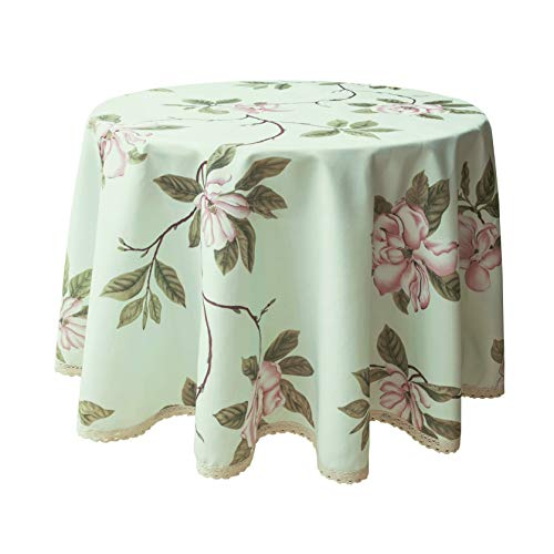 Wewoch Decorative Camellia Floral Print Polyester Round Tablecloth Waterproof Fabric Lace Table Cloth, Table Cover for Dining Room and Party (70x70-Inch, Pale Mint Green)