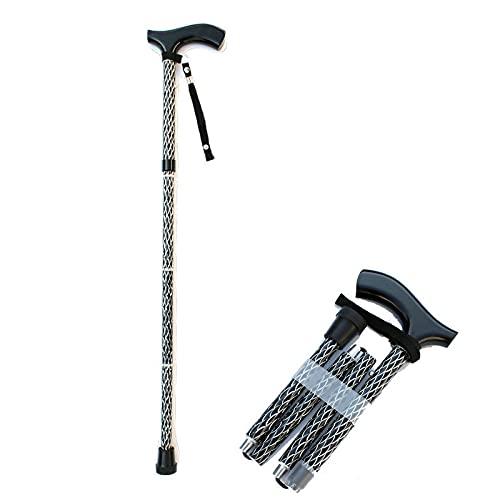 Shmtfa Muletas Ligeras para Ancianos BastóN TelescóPico Plegable De AleacióN De Aluminio Pies De Goma Antideslizantes para Ancianos con Discapacidad De 1,50-1,85 M