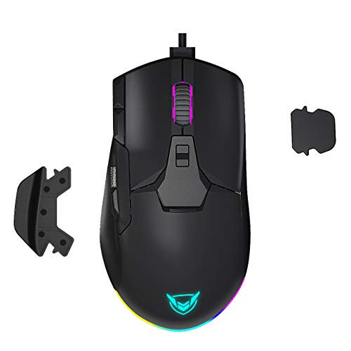 PICTEK Wired RGB Gaming Mouse, Side Metal Scroll Wheel for Volume Control, 8 Button Programmable Mice with Detachable Finger Rests, Fire Button, Sniper Button, Up to 12000 DPI for PC, Laptop, Black