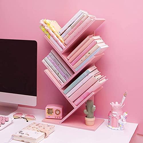 Estantería rosa creativa con forma de árbol, organizador de libros de varias capas de madera, sujetalibros de escritorio, accesorios de escritorio para sala de estudio, suministros de oficina, S