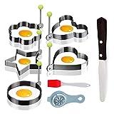 5 Pcs Molde de Huevo Frito, Anillo de Huevo - 5 Formas Diferentes de Egg Rings de Acero Inoxidable Incluye Espátula y Cepillo de Silicona Para Huevos Frito y Panqueques Etc