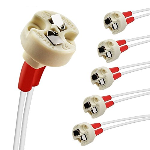 DiCUNO 6P MR16/GU5.3/MR11/G4 Keramik Fassung mit 15CM Kabel, 12-250V, Bi-Pin Base für Halogen/LED-Lampe, für G6.35, GY6.35, GX5.3, GU5.3, GZ4.