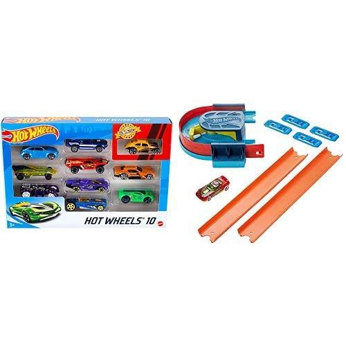 Hot Wheels Pack de 10 vehículos, Coches de Juguete + Track Builder Accesorios para Pistas de Coches Acelerador Curva