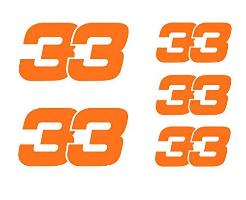 Max Verstappen 33 Fluoreszierende Orange Vinyl Aufkleber 2 x 80 mm / 3 x 50 mm F1 Formula 1