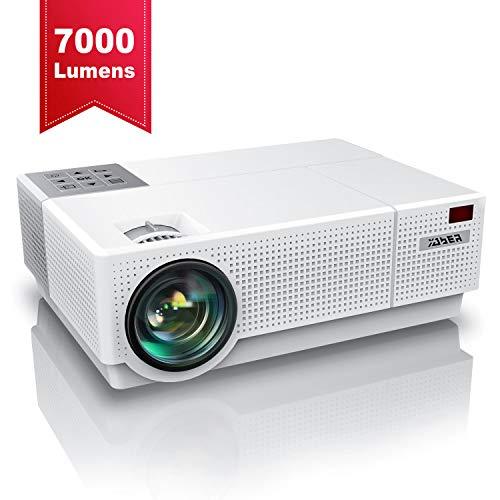 Proiettore, YABER 7000 Lumen Videoproiettore 1080P Nativa (1920x1080) ±50° Trapezoidale Correzione Led Full Hd 300' Videoproiettore Domestico Per Iphone, Smartphone, Pc, Tvbox, Laptop, Ps4