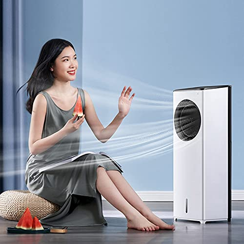 N&W Evaporative Air Cooler 3-IN-1 Portable Air Conditioner Personal Bladeless Tower Fan/AC Cooling Humidification 3 Wind Speeds 3 Modes for Home Office