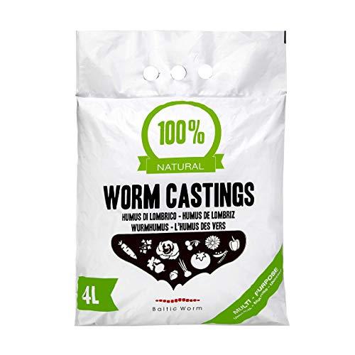 Fertilizantes orgánicos de gusanos Baltic Worm, multiusos, natural para lumbricultura, reconstituyente del suelo, humus de lombriz roja de 4litros